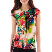 Worthington® Short-Sleeve Twist-Neck Blouse - Tall