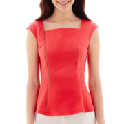 Worthington® Short-Sleeve Zipper Peplum Top - Tall