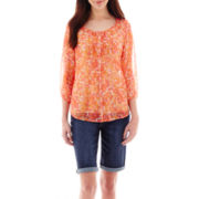St. John's Bay® Pintuck Peasant Top or Denim Shorts - Tall