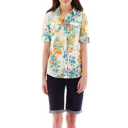 St. John's Bay® Campshirt or Denim Bermuda Shorts - Tall