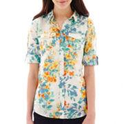 St. John's Bay® Elbow-Sleeve Roll-Tab Campshirt - Tall