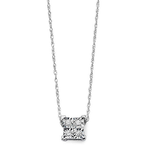 Diamond-Accent 10K White Gold Square Necklace