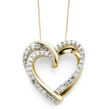 jcpenney.com | 1/2 CT. T.W. Diamond 10K Yellow Gold Double-Heart Pendant Necklace