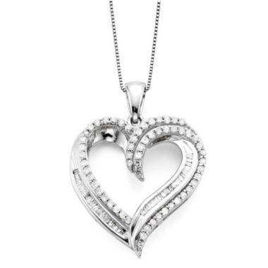 jcpenney.com | 1/2 CT. T.W. Diamond 10K White Gold Double-Heart Pendant Necklace