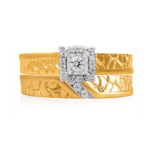 1/5 CT. T.W. Diamond 14K Yellow Gold Nugget Bridal Ring Set