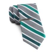 JF J. Ferrar® Heather-Striped Tie and Tie Bar Set - Slim