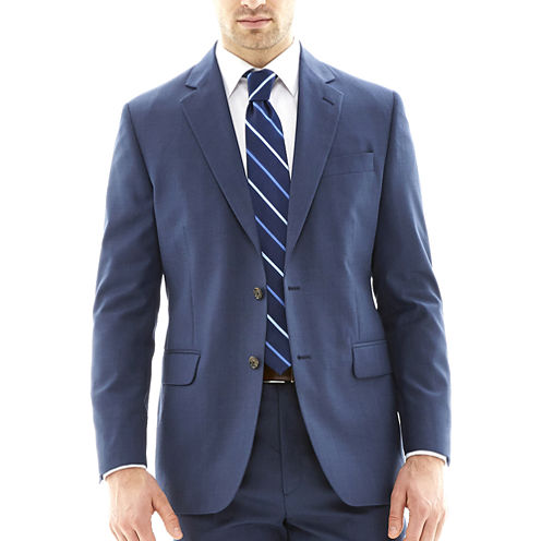 Stafford® Travel Medium Blue Suit Jacket - Classic Fit
