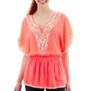 Miss Chievous Flutter-Sleeve Crochet-Front Top