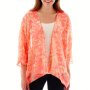 Love By Design Dolman-Sleeve Tropical Kimono