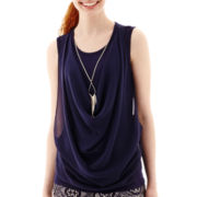 by&by Sleeveless Necklace-Trim Drape-Front Top