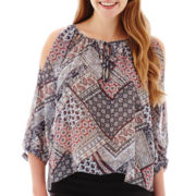 by&by 3/4-Sleeve Bandana Print Cold-Shoulder Top