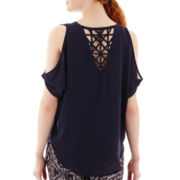 by&by Elbow-Sleeve Lattice-Back Cold-Shoulder Top