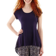 by&by Cap-Sleeve Lace-Inset Sharkbite Top