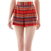 by&by Pleat-Front Print Shorts