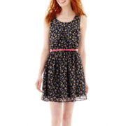 Olsenboye® Sleeveless Floral Print Chiffon Dress