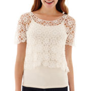 Olsenboye® Short-Sleeve Crochet Popover Top