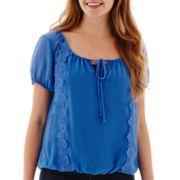 Olsenboye® Short-Sleeve Lace-Trim Peasant Top
