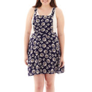 Arizona Sleeveless Overall Skater Dress - Plus