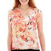Liz Claiborne® Short-Sleeve Ruffled Floral Blouse