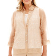 Alfred Dunner® Shaker Heights 3/4-Sleeve Solid Burnout Layered Top
