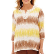 Alfred Dunner® Capetown 3/4-Sleeve Watercolor Biadere Lace Trim Tunic