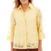 Alfred Dunner® Capetown 3/4-Sleeve Floral Burnout Layered Top