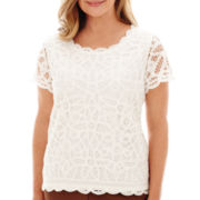 Alfred Dunner® Capetown Short-Sleeve Lace Knit Top
