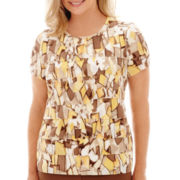 Alfred Dunner® Capetown Short-Sleeve Stained Glass Print Tiered Top