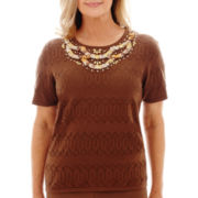 Alfred Dunner® Capetown Short-Sleeve Textured Ikat Pullover Top