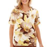 Alfred Dunner® Capetown Short-Sleeve Exploded Floral Print Knit Top