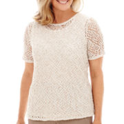 Alfred Dunner® Capetown Short-Sleeve Metallic Accent Crochet Sweater