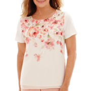Alfred Dunner® Short-Sleeve Appliqué Floral Print Knit Top
