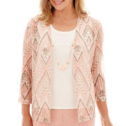 Alfred Dunner® 3/4-Sleeve Diamond Geometric Layered Top