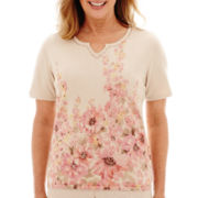 Alfred Dunner® Romancing Stone Short-Sleeve Floral Border Sweater