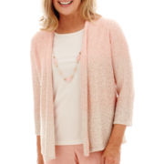 Alfred Dunner® 3/4-Sleeve Ombré Sequin Layered Sweater