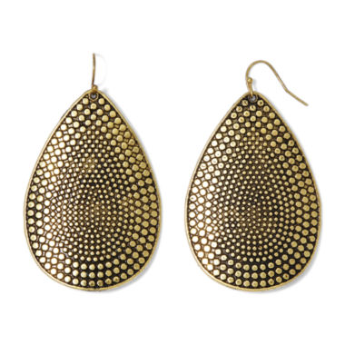 jcpenney.com | Decree® Gold-Tone Textured Drop Earrings