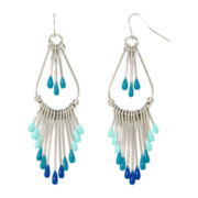 Decree® Silver-Tone Aqua and Blue Bead Fringe Paddle Earrings