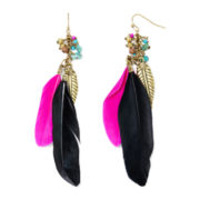Decree® Gold-Tone Pink and Black Feather Drop Earrings