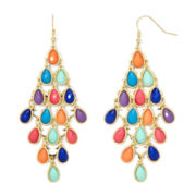 Decree® Gold-Tone Multicolor Acrylic Chandelier Drop Earrings