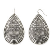 Decree® Silver-Tone Textured Drop Earrings