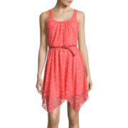 Love Reigns Sleeveless Lace Sharkbite Dress- Juniors