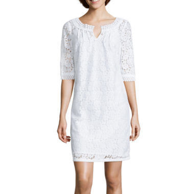 jcpenney.com | nicole by Nicole Miller® Elbow-Sleeve Lace Shift Dress