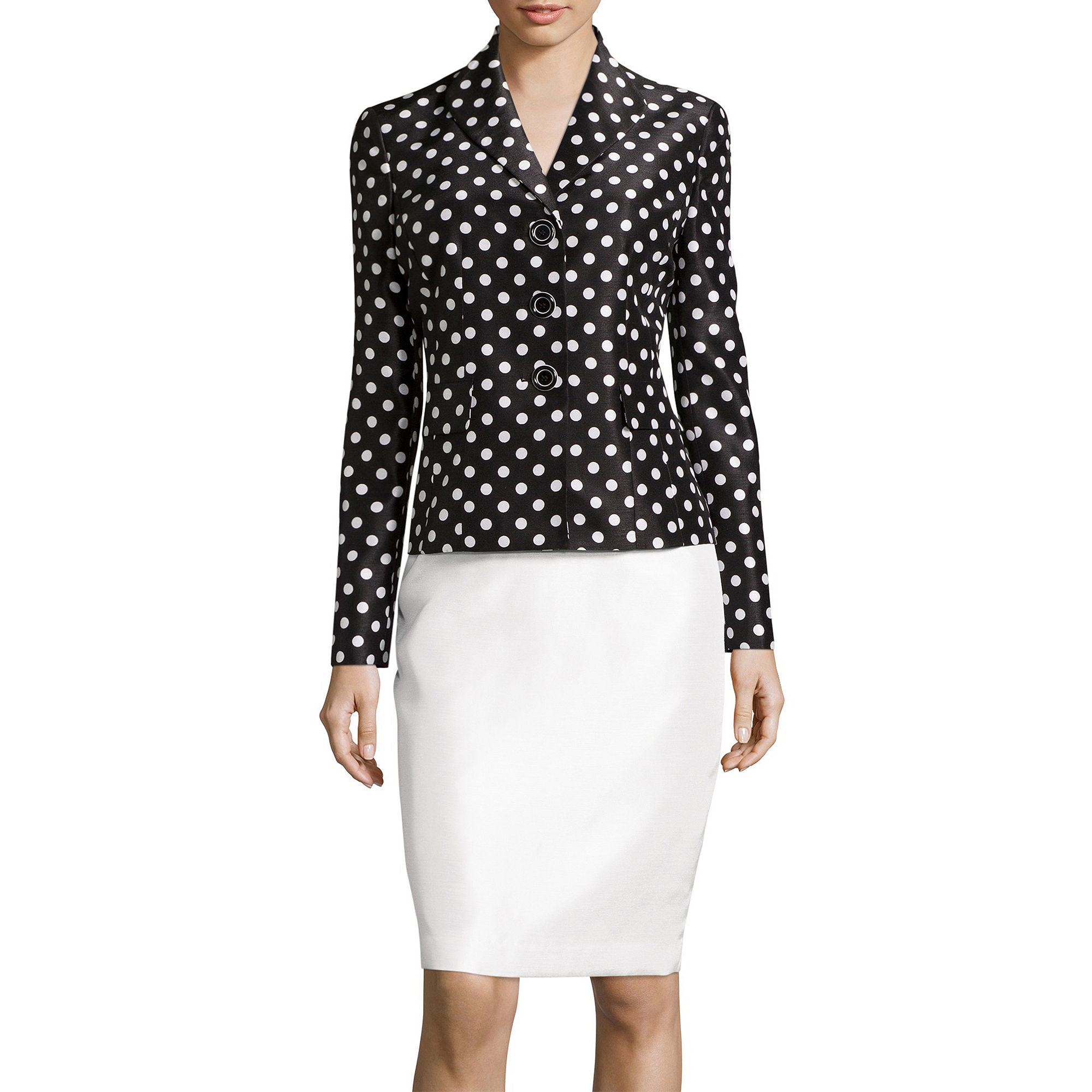 Le Suit Dot Print Jacket and Skirt Suit Set plus size,  plus size fashion plus size appare