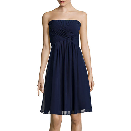Blu Sage Strapless Ruched Dress
