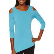 Worthington® 3/4-Sleeve Cold Shoulder Tunic - Tall