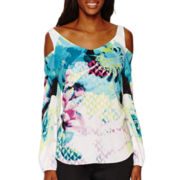 Worthington® Long-Sleeve Cold Shoulder Blouse - Tall