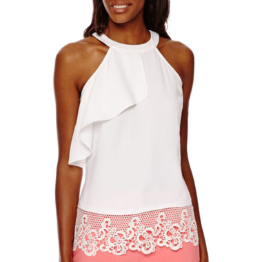 jcpenney.com | Worthington® Sleeveless Lace-Hem Halter Top - Tall