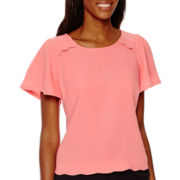 Worthington® Short-Sleeve Scallop-Hem Blouse - Tall