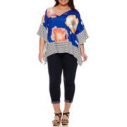 Stylus™ Woven Floral Poncho or Slim Ankle Jeans - Plus