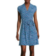Liz Claiborne® Short-Sleeve Print Wrap Dress